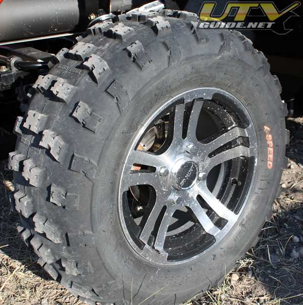 26x11x14 Maxxis RAZR Tire on Alloy Wheel
