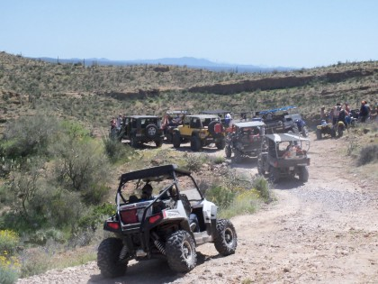 UTVs and 4x4s on the way to Coke Ovens
