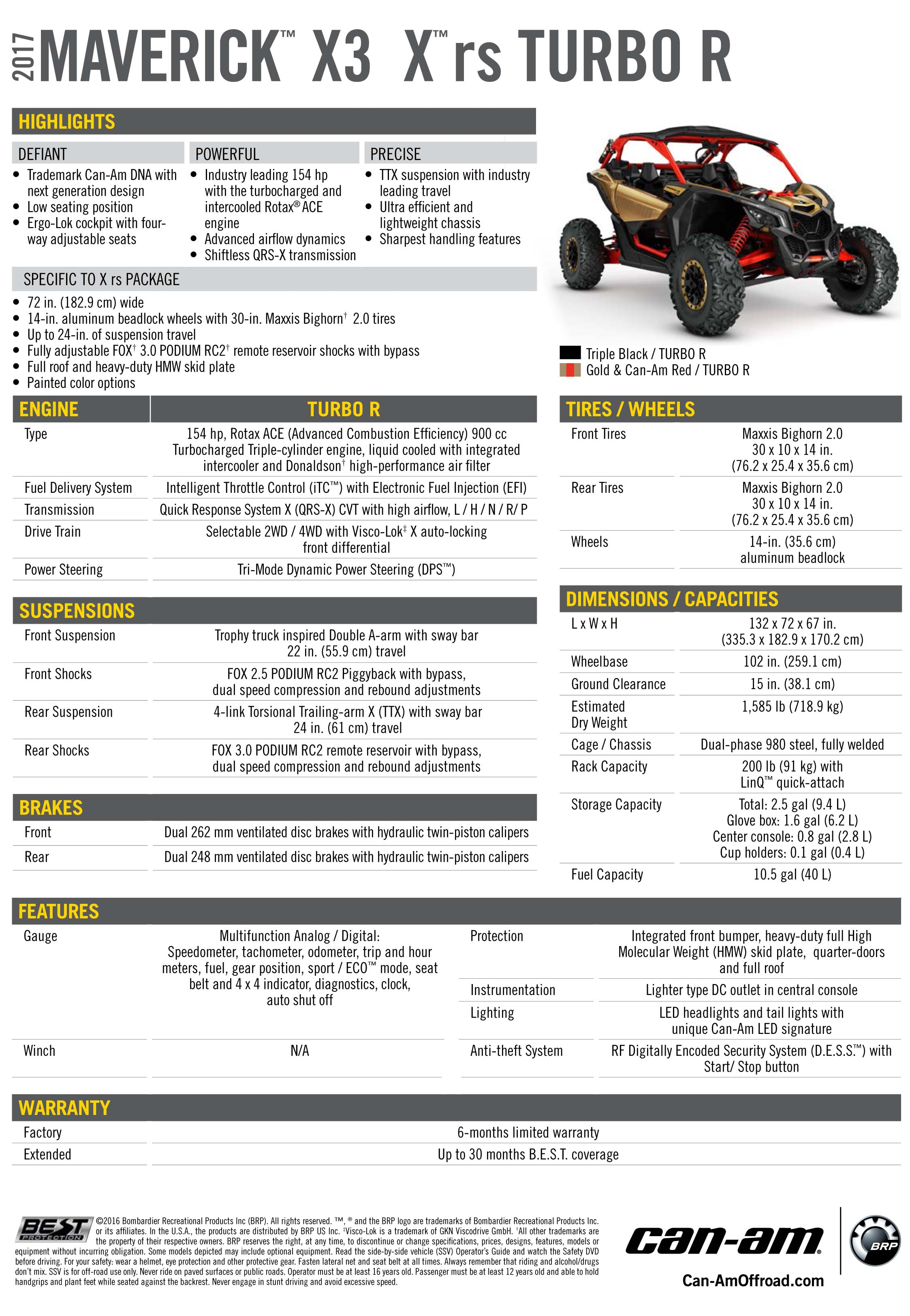 Maverick X3 X rs Specifications