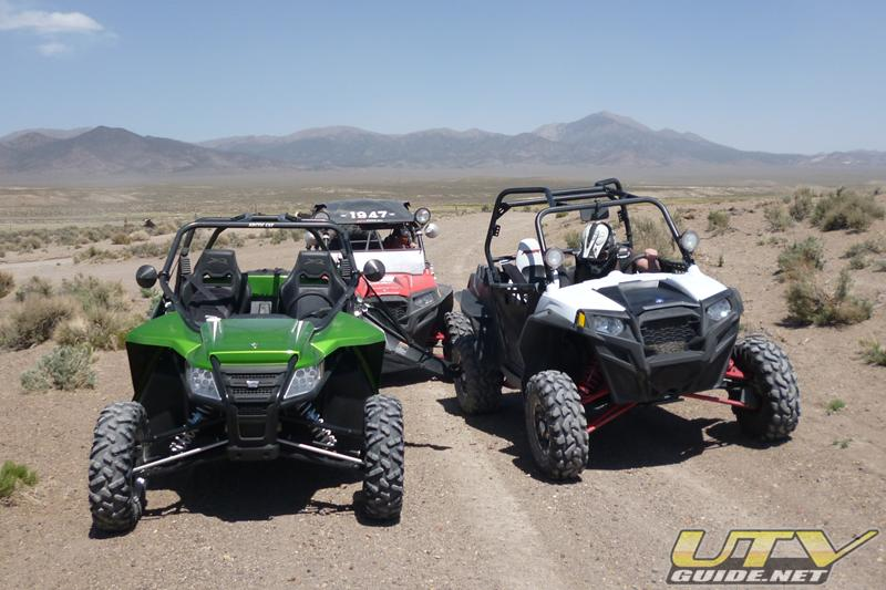 Arctic Cat Wildcat and two Polaris RZR XPs