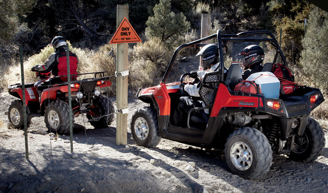 "Polaris Ranger RZR is 50"" wide so it can fit on ATV trails."