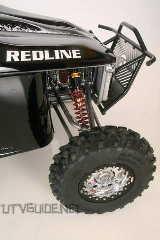 "Redline Riot - Front Suspension - Double A-arm, 10"" ELKA coil over shocks w/ adjustable rebound and compression, 18"" true travel"
