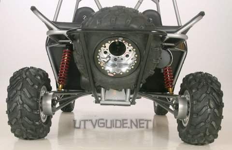 "Redline Riot - Rear Suspension - Swing Arm, 10"" ELKA coil over shocks w/ adjustable rebound and compression, 16.5"" true travel"