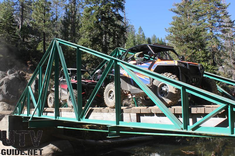 Polaris RZR XP 900s on the bridge to Rubicon Springs