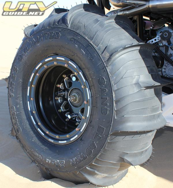 DWT Sector Wheel with STU Sand Blaster Tire cut by Fullerton Sand Sports