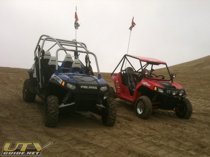 Polaris RZR 4 and Polaris RZR at the top of Sand Mountain