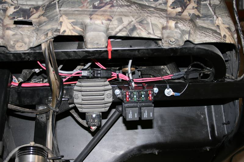 12v accessory guide for utvs utv guide fuse relay panel mounted under the hood on driver s side self tapping screws work nicely for attaching block to frame ground wire is set next to block